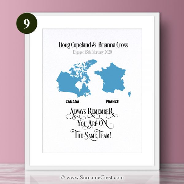 Celebrate each others countries. A gift with two countries and added names and dates. Includes inspirational quotes: Always remember, You are on The Same Team!