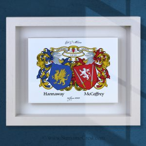 Two family crests (coat of arms) on an Italian made ceramic tile in a purpose made wooden frame. A custom made gift of unique character.