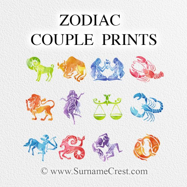 Zodiac signs couple prints. Great looking gift that looks fantastic in any home. Print at home or have it printed for you. Fast delivery.