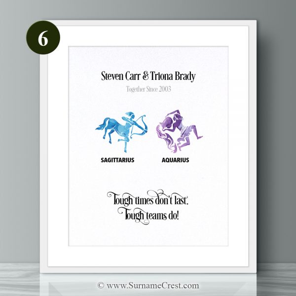 Personalised Zodiac Sign Print. Thoughtful and meaningful gift for a couple. Tough times don't last. Tough teams do!