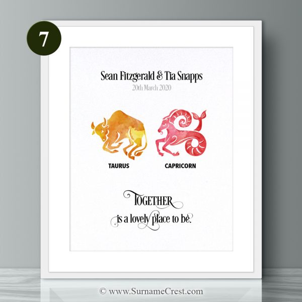 Zodiac Signs couple print. Personalised gift with inspirational relationship/marriage quote: Together is a lovely place to be.
