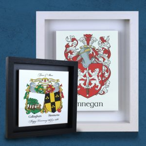 Family crest (coat-of-Arms) on an Italian made ceramic, framed with an Irish made real-wood frame.