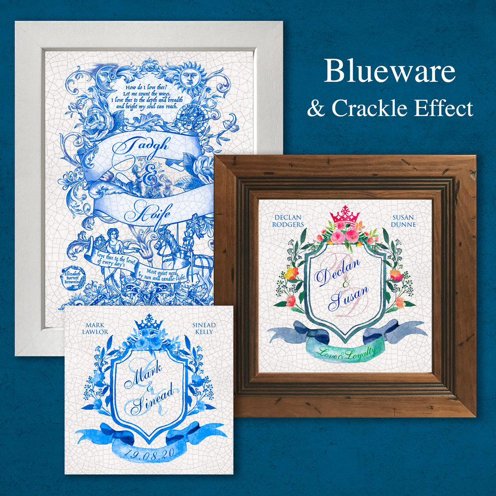 Blueware -Tles. Irish made Blueware effect tiles. Personalised gifts.