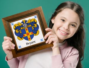 Happy girl with vintage watercolour family coat-of-arms on ceramic in vintage rustic frame.
